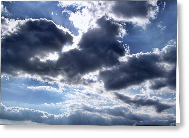 Sun Breaking Through Clouds Photographs Greeting Cards - Sun Breaking Through the Clouds Greeting Card by Mariola Bitner