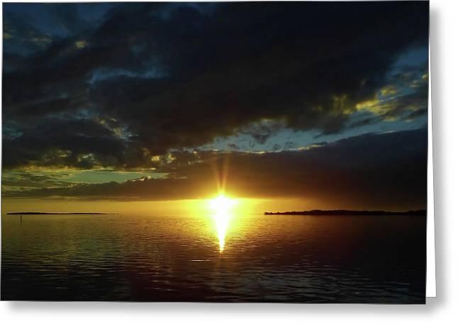 Sun Burst At Sunset Greeting Card by D Hackett