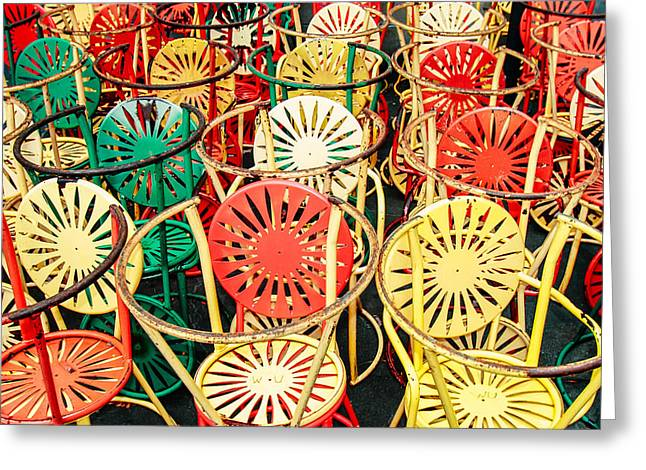 Sun Burst Chairs Stacked Greeting Card