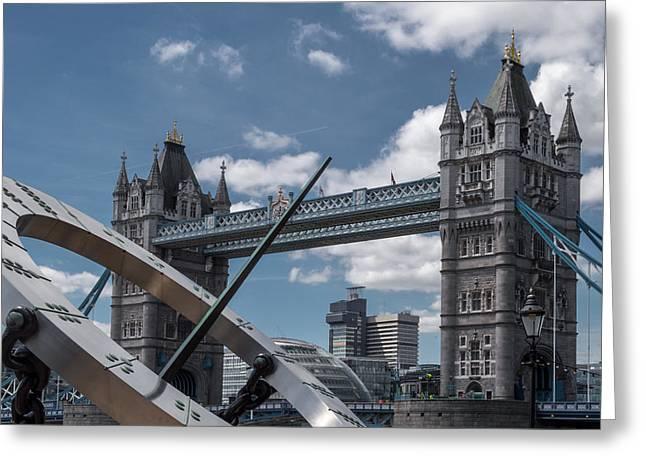 Sun Clock With Tower Bridge Greeting Card