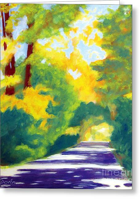 Sun Dappled Road Greeting Card