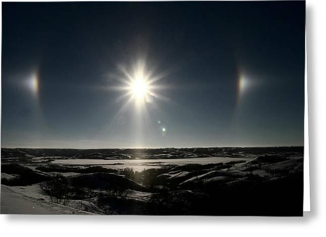 Sun Dogs Besides Settig Sun Greeting Card by Mark Duffy