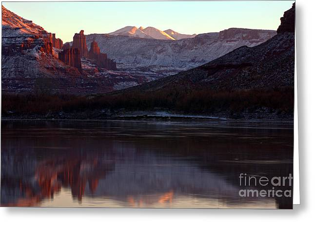Sun Down At Fisher Towers Greeting Card by Adam Jewell
