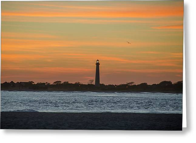 Sun Dreanched Skies At Cape May Lighthouse Greeting Card