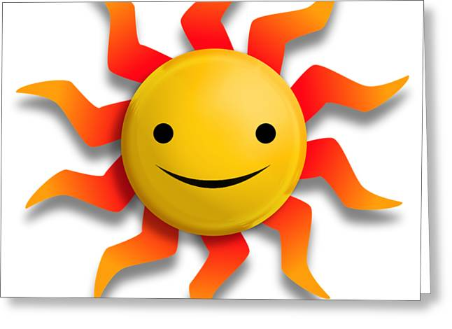Greeting Card featuring the digital art Sun Face No Background by John Wills