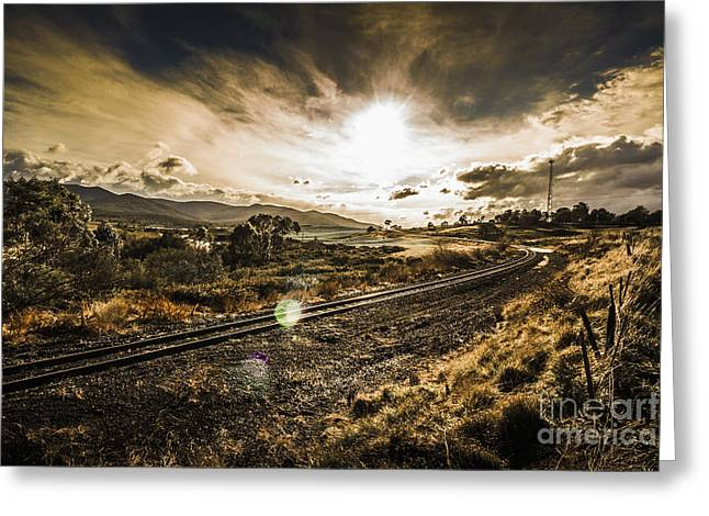 Sun Flared Railway Track Greeting Card by Jorgo Photography - Wall Art Gallery
