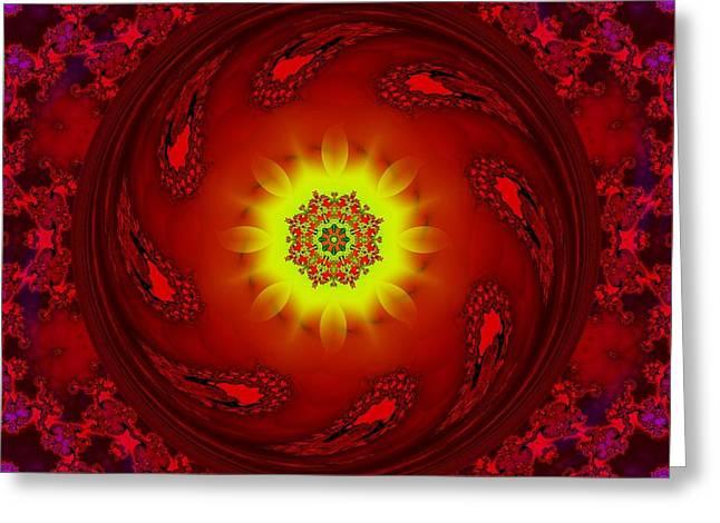 Sun/flower Mandala Greeting Card by Elizabeth McTaggart