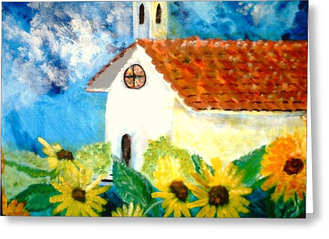Sun Flowers Dance At San Marin Greeting Card by J Bauer