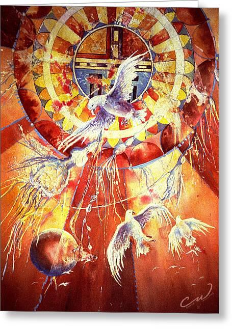 Sun God Greeting Card by Connie Williams