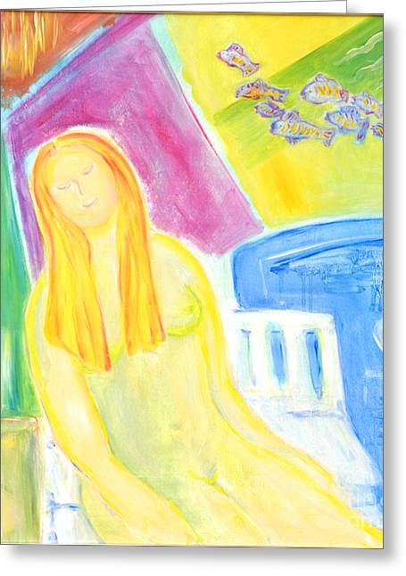 Greeting Card featuring the painting Sun Goddess by Barbara Anna Knauf