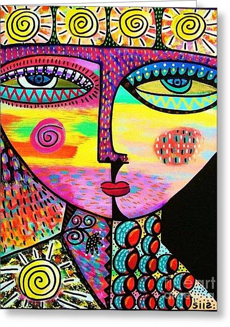Sun Goddess Greeting Card by Sandra Silberzweig