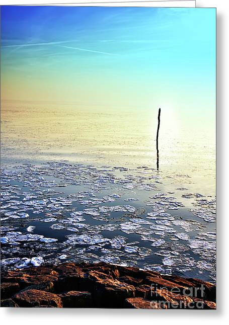 Sun Going Down In Calm Frozen Lake Greeting Card