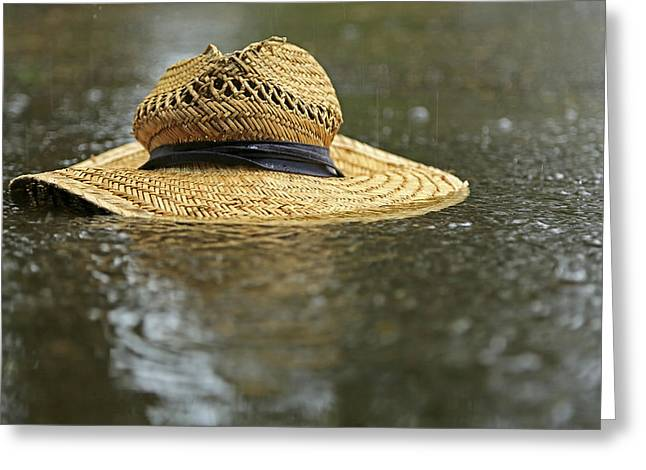 Sun Hat In The Rain Greeting Card