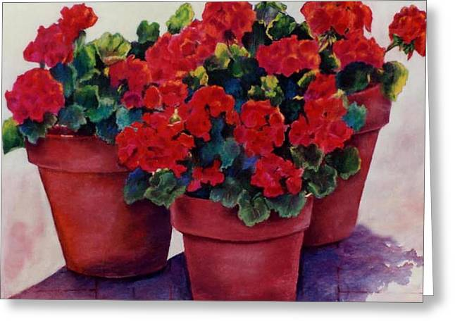 Greeting Card featuring the painting Sun-kissed Geraniums by Ann Peck