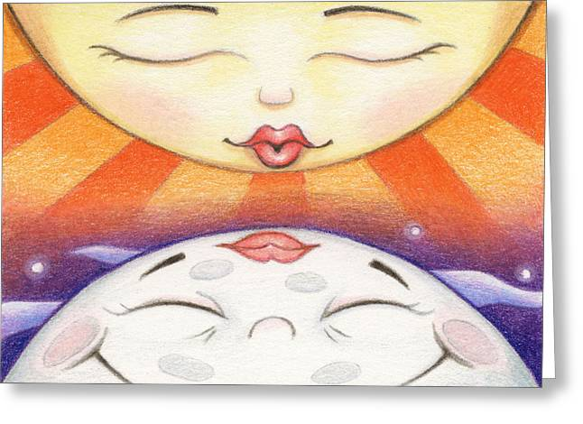 Sun Kissed Moon Greeting Card by Amy S Turner