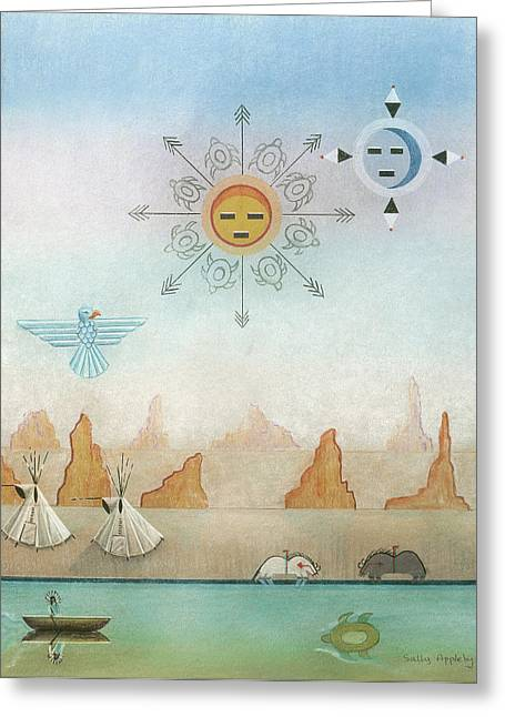 Sun Moon And Turtles Greeting Card by Sally Appleby