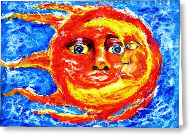 Greeting Card featuring the painting Sun Moon by Shelley Bain