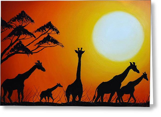 Sun Of The Giraffe 12 Greeting Card by Dunbar's Modern Art