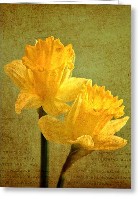 Sun On Daffodils Greeting Card by Cathie Tyler