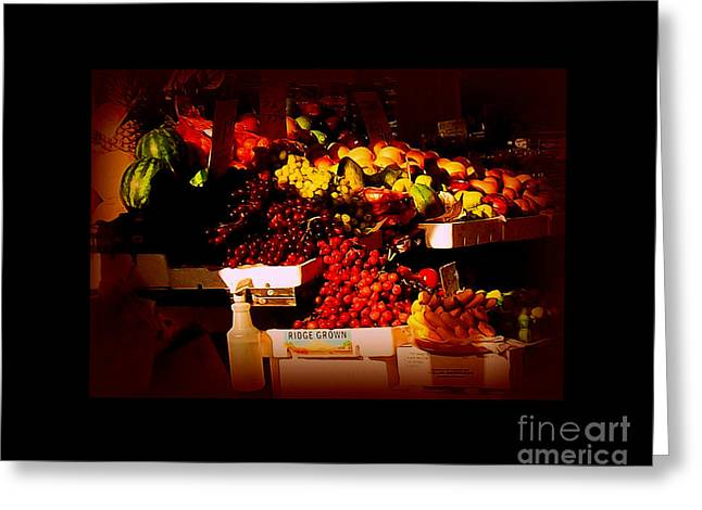Sun On Fruit - Markets And Street Vendors Of New York City Greeting Card by Miriam Danar