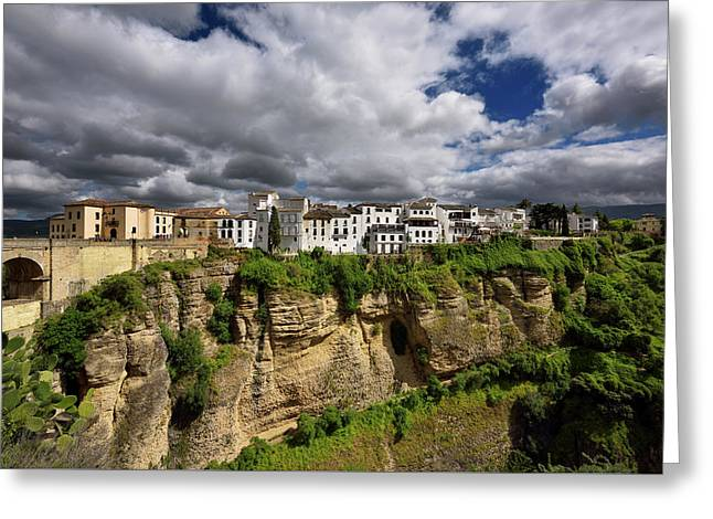 Sun On White Buildings And Orange Cliffs At El Tajo Gorge Ronda  Greeting Card