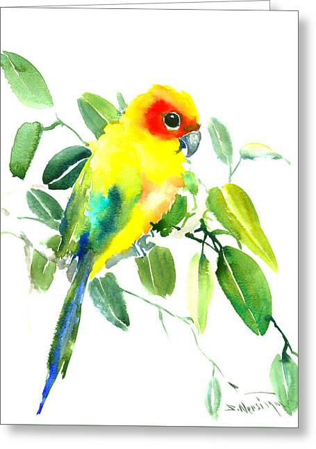 Sun Parakeet Greeting Card by Suren Nersisyan