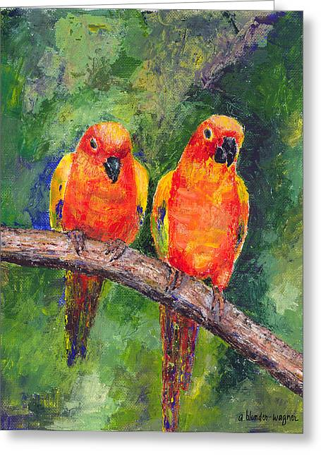 Parakeet Greeting Cards - Sun Parakeets Greeting Card by Arline Wagner
