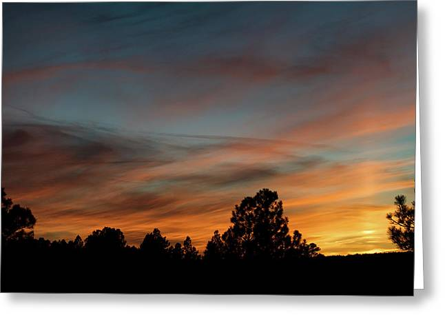 Sun Pillar Sunset Greeting Card