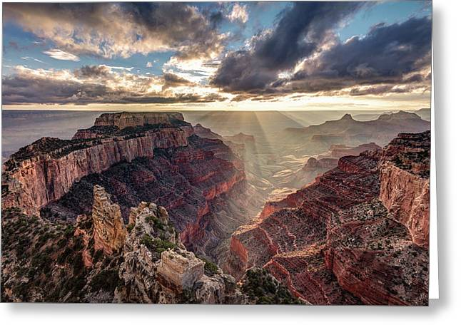 Greeting Card featuring the photograph Sun Rays At Cape Royal by Pierre Leclerc Photography