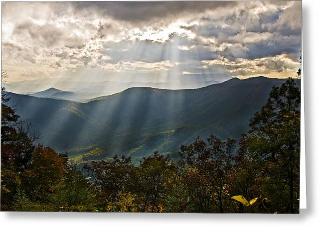 Sun Rays Linville Falls Nc Greeting Card by Michael Whitaker