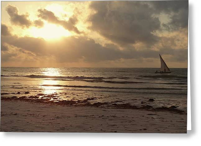 Sun Rays On The Water With Wooden Dhow Greeting Card