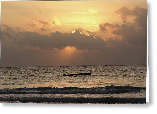 Sun Rays On The Water With Wooden Dhows Greeting Card