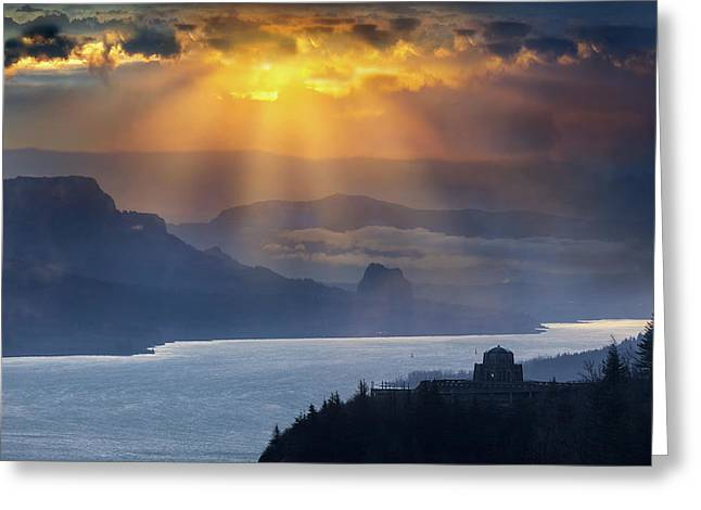 Sun Rays Over Columbia River Gorge During Sunrise Greeting Card