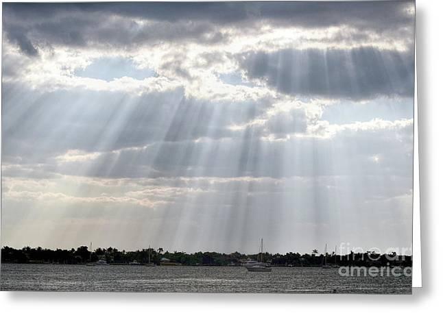 Sun Rays Over Lagoon Greeting Card
