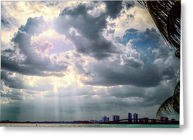 Sun Rays Over Miami Greeting Card by Camille Lopez