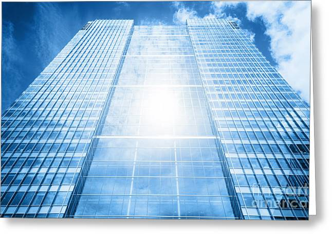 Sun Reflecting In Modern Business Skyscraper, High-rise Building Greeting Card by Michal Bednarek