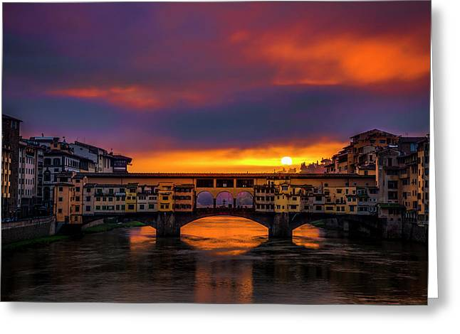 Sun Rises Over The Ponte Vecchio Greeting Card by Andrew Soundarajan