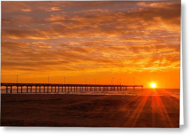 Sun Rising At Port Aransas Pier Greeting Card