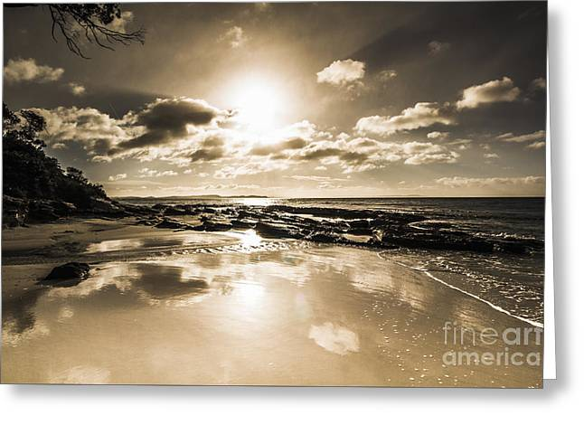 Sun Sand And Sea Reflection Greeting Card