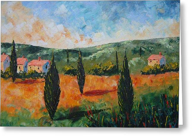 Sun Set In Provence Greeting Card