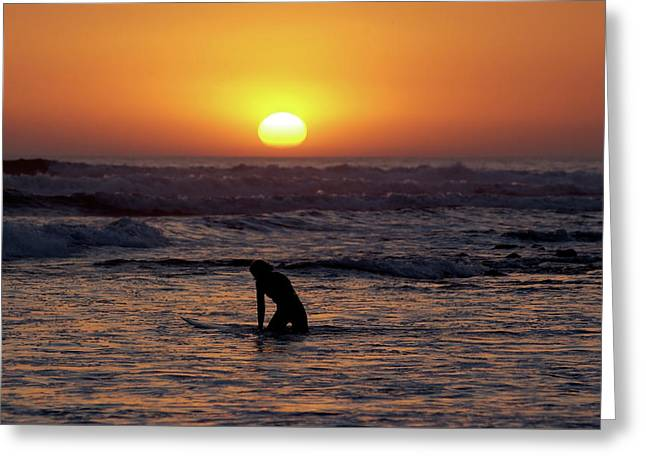 Sun Set Surfer Greeting Card