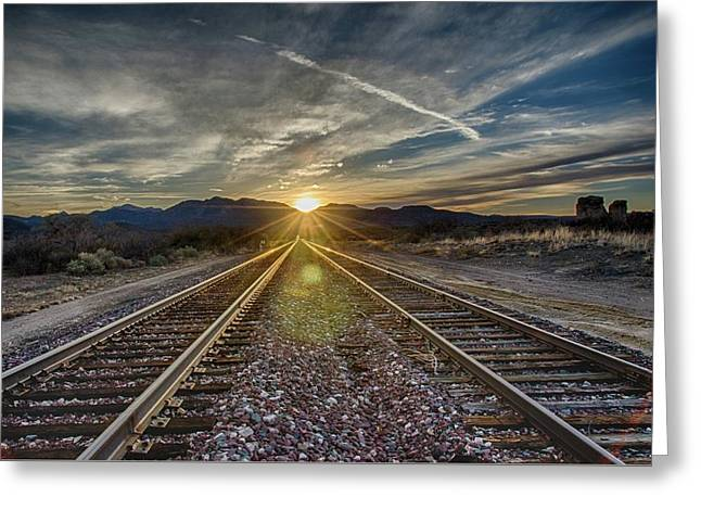 Sun Sets At The End Of The Line Greeting Card