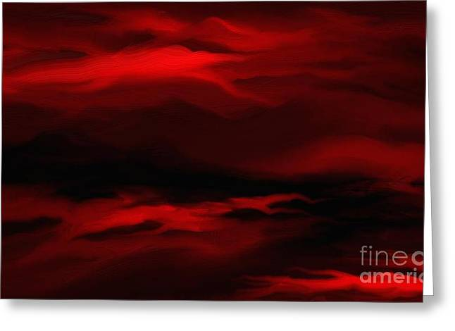 Sun Sets In Red Greeting Card
