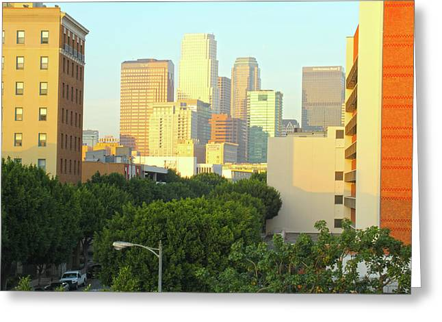 Sun Sets On Downtown Los Angeles Buildings #1 Greeting Card