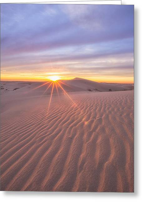 Greeting Card featuring the photograph Sun Setting At The Dunes by Patricia Davidson