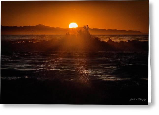 Sun Setting Behind Santa Cruz Island Greeting Card
