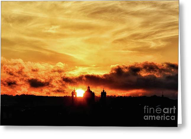 Sun Setting Down Behind Church Greeting Card by Stephan Grixti
