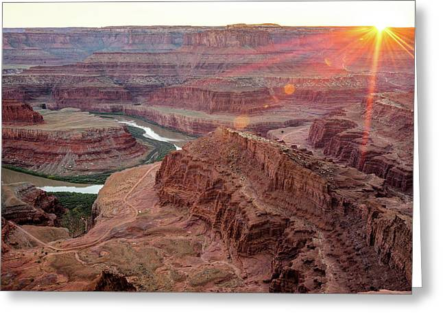 Sun Setting On Dead Horse Point State Park - Utah Greeting Card
