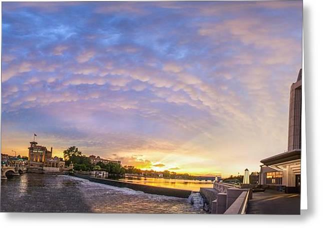 Sun Setting On Downtown Saint Charles Illinois  Greeting Card by Lorraine Matti