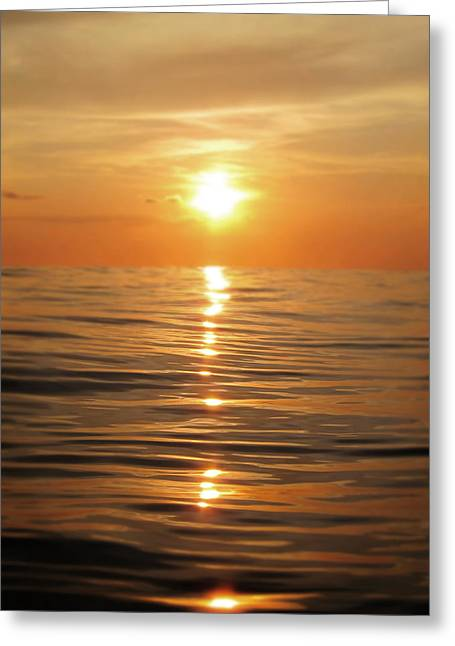 Sun Setting Over Calm Waters Greeting Card